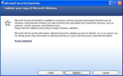 Microsoft Security Essentials won't install unless users prove they're running a legitimate copy of Windows.