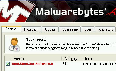 MBAM detecting dummy.exe as malware
