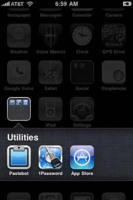 iPhone iOS 4 folders - open.
