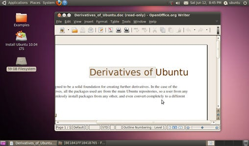 Ubuntu Linux desktop with OpenOffice.org document