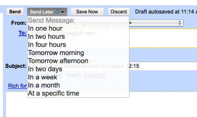 A dropdown menu on Boomerang gives you a selection of times to choose from.