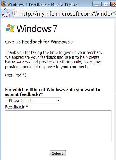 Microsoft's Windows 7 feedback page