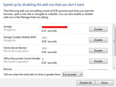 IE9 Disable addons