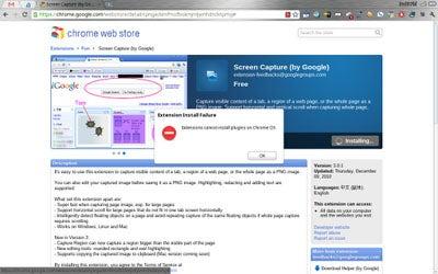 Chrome OS Extension Failure