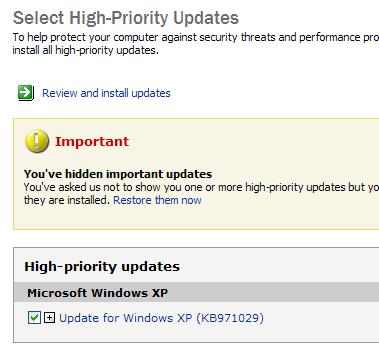 KB971029 in Windows Update