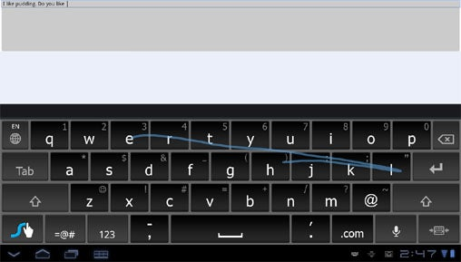 Swype Android Honeycomb Tablets