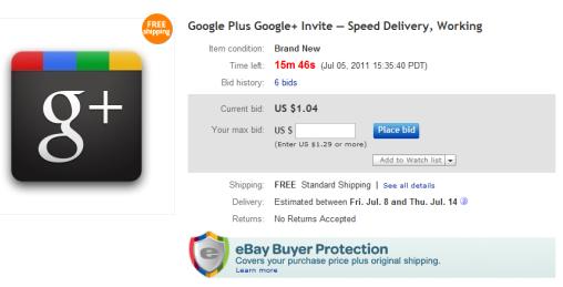 Google+ invite eBay