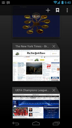 Android Ice Cream Sandwich Browser Tabs