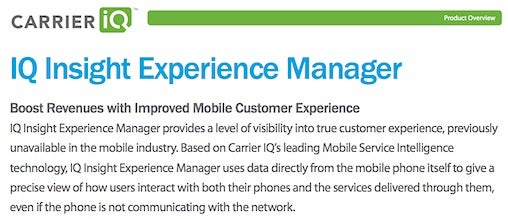 Carrier IQ marketing material