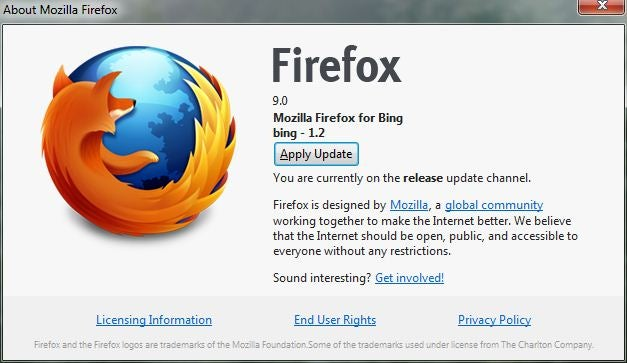 Mozilla Firefox 9 update box