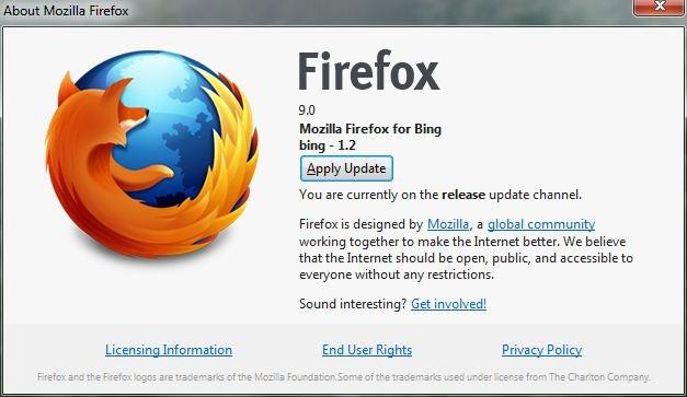 Mozilla Firefox 9 update box