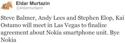 Bye Nokia tweet