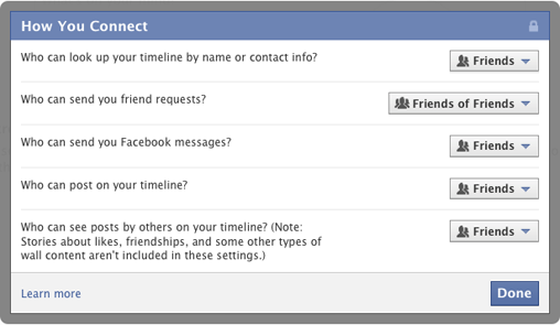 Facebook privacy: connections
