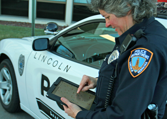 officer with iPad