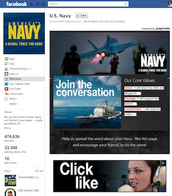 Navy Facebook page