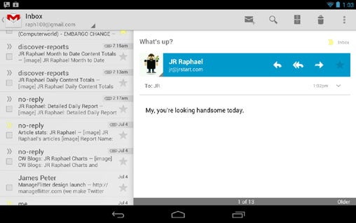Android 4.1 Tablet Layout - Nexus 7 Gmail