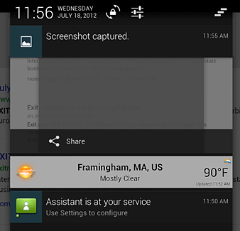 Nexus 7 notification 'shade' with after a screenshot capture