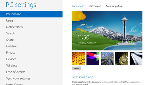 Windows 8 lock screen graphics