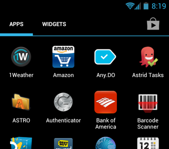 Android 4.0 app drawer