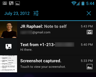 Android 4.0 notifications panel