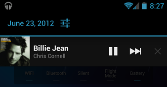 Notification panel music controls