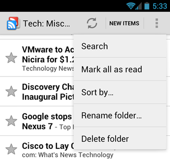 Android 4.0 overflow menu