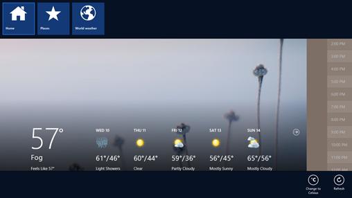 App bar in Weather app