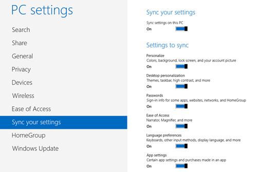 syncing settings