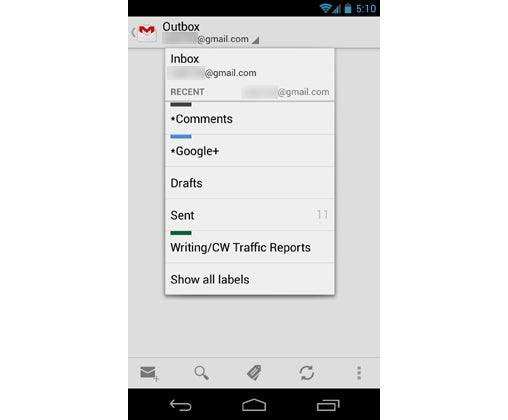 Android 4.2 Gmail Labels