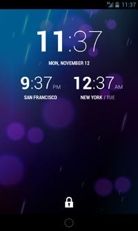 Android 4.2 World Clock Lock Screen