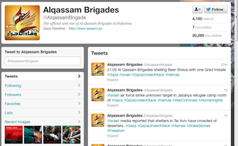 Twitter pages for Hamas Alqassam Brigade