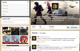 Twitter page for Israeli defense