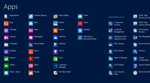 Windows 8 All Apps screen