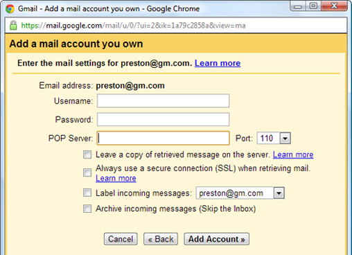 Configuring Gmail to get POP3 mail