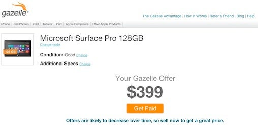 Gazelle.com trade-in for Surface