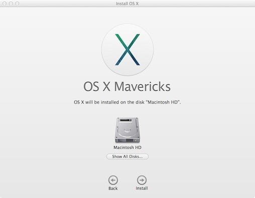 OS X Mavericks installer
