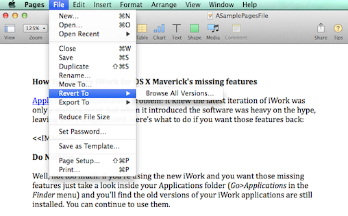 How to: Restore iWork for OS X Maverick's missing features