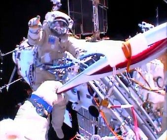 Olympic torch on spacewalk