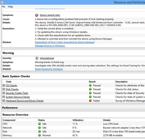 Windows 8 Performance Monitor report