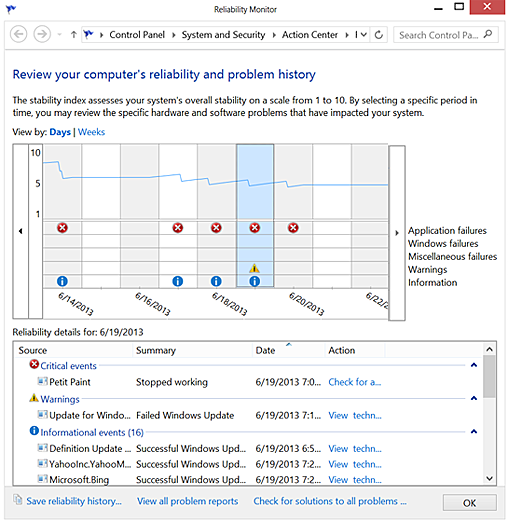 Windows 8 Reliability Monitor