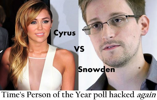 Cyrus vs Snowden, Time's Person of the Year poll hacked again