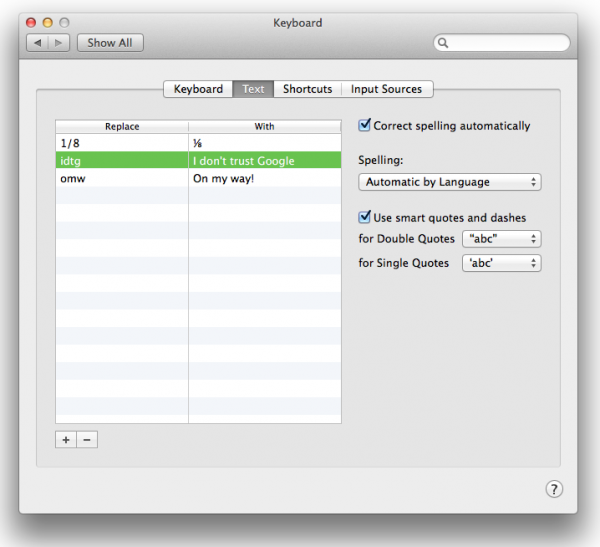 OS X Mavericks, iOS 7: Text Shortcuts explained