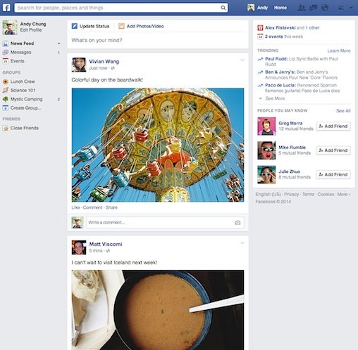 New Facebook feed
