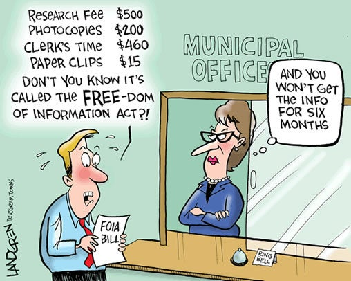 Sunshine Week 2014 cartoon by Don Landgren, Worcester Telegram & Gazette