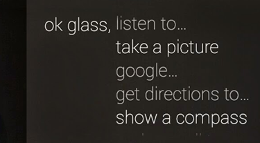 Google Glass voice commands