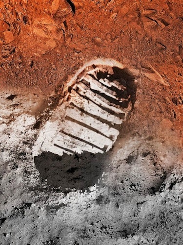 Armstrong footprint on the moon