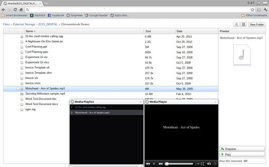 The Chrome OS file manager and Media Player demonstrate what Chrome OS is good for: browsing the Web.