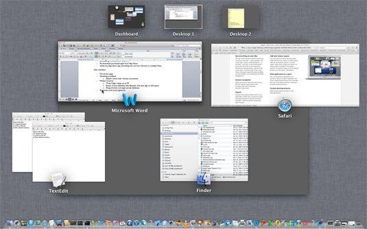 Mission Control provides a combined view of active virtual desktops (aka Spaces), running applications, and open documents.