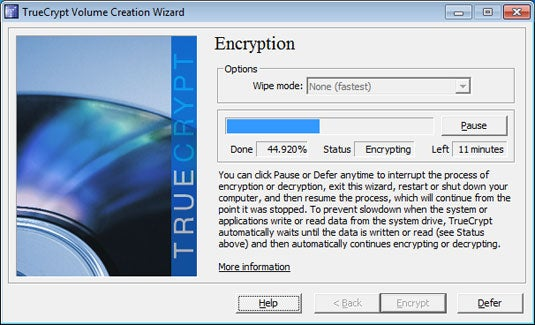 The TrueCrypt encryption process can be suspended and resumed at your convenience, even across multiple reboots.