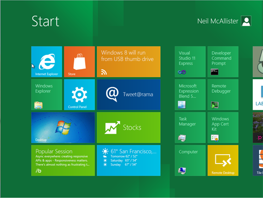 The Windows 8 Metro desktop is the new Start screen.
